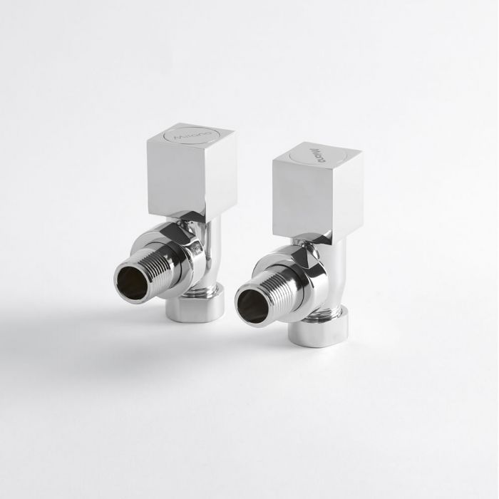 Milano - Chrome Square Designer Angled Radiator Valves (Pair)