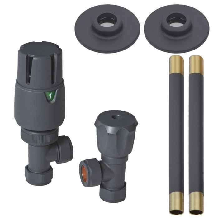 Milano - Modern Anthracite Thermostatic Angled Radiator Valve and Pipe Set