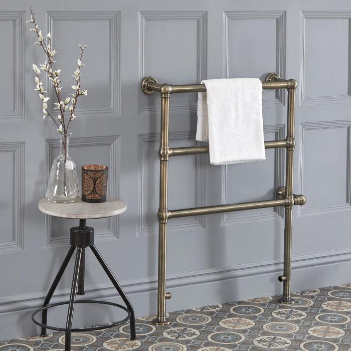 Milano Derwent - Traditional Minimalist Brushed Brass Electric Heated Towel Rail - 966mm x 673mm