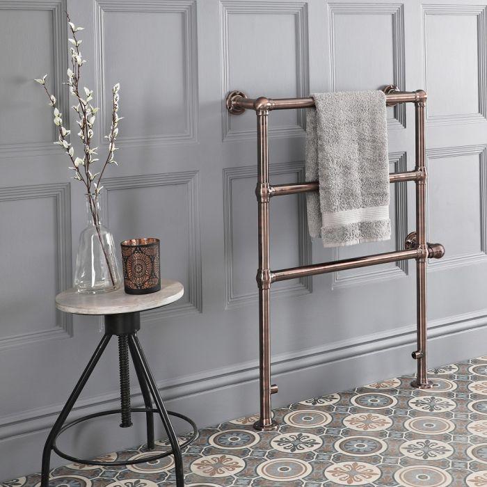 Milano Derwent - Traditional Minimalist Oil Rubbed Bronze Electric Heated Towel Rail - 966mm x 673mm