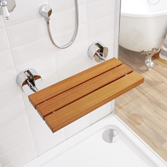 Milano Select - Wall Mounted Folding Shower Seat with Chrome Brackets - Teak