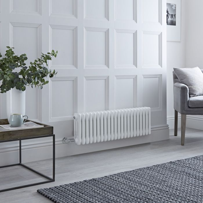 Milano Windsor - Traditional White 3 Column Electric Radiator - 300mm x 1010mm (Horizontal) - with Choice of Wi-Fi Thermostat