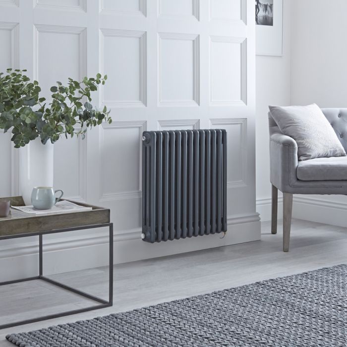 Milano Windsor - Traditional Anthracite 3 Column Electric Radiator - 600mm x 605mm (Horizontal) - with Choice of Wi-Fi Thermostat