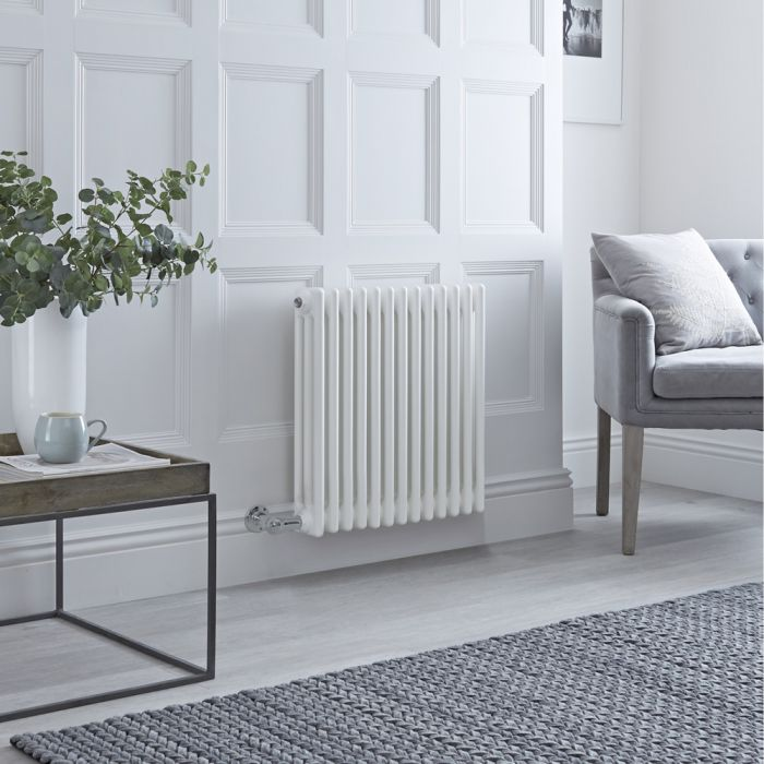 Milano Windsor - Traditional White 3 Column Electric Radiator - 600mm x 605mm (Horizontal) - with Choice of Wi-Fi Thermostat