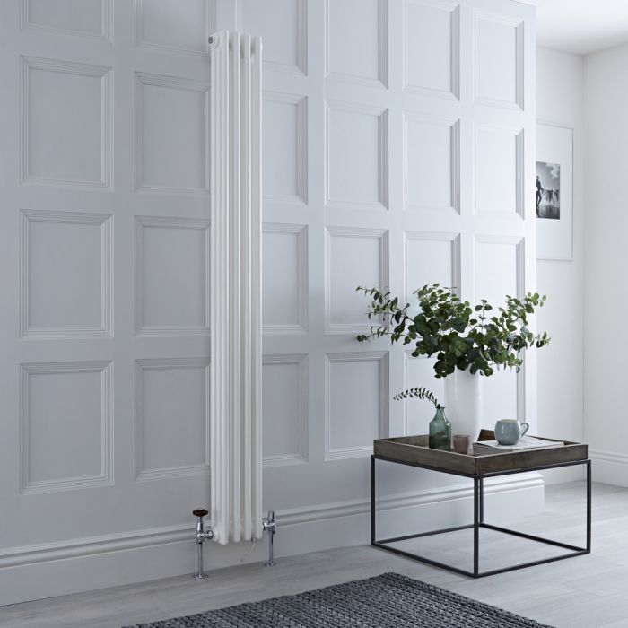 Milano Windsor - White Vertical Dual Fuel Traditional Column Radiator - 1800mm x 200mm (Triple Column) - Choice of Valve and Wi-Fi Thermostat