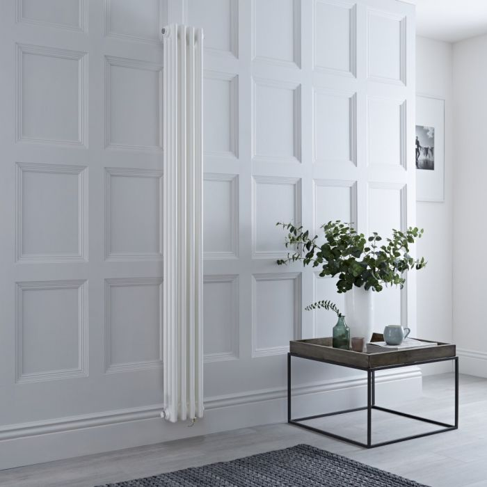 Milano Windsor - White Vertical Traditional Electric Column Radiator - 1800mm x 200mm (Triple Column) - Choice of Wi-Fi Thermostat