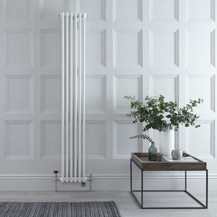Milano Windsor - White Vertical Dual Fuel Traditional Column Radiator - 1800mm x 290mm (Triple Column) - Choice of Valve and Wi-Fi Thermostat