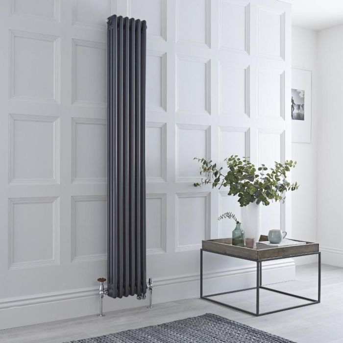 Milano Windsor - Anthracite Vertical Dual Fuel Traditional Column Radiator - 1800mm x 290mm (Triple Column) - Choice of Valve and Wi-Fi Thermostat