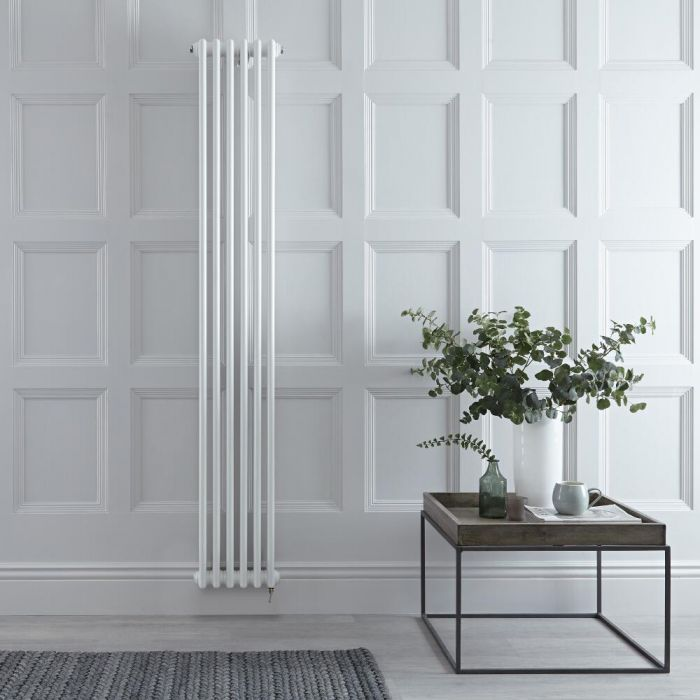 Milano Windsor - White Vertical Traditional Electric Column Radiator - 1800mm x 290mm (Triple Column) - Choice of Wi-Fi Thermostat