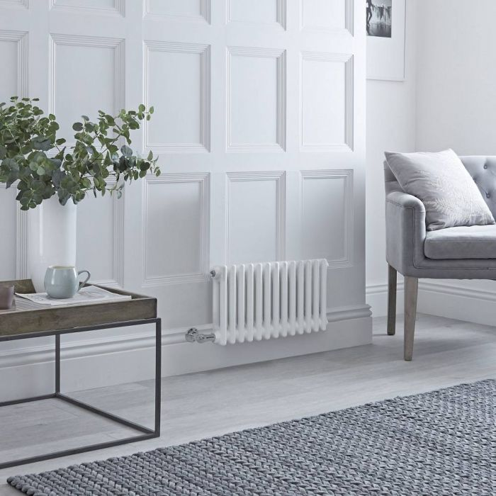 Milano Windsor - Traditional 13 x 2 Column Electric Radiator Cast Iron Style White - 300mm x 605mm (Horizontal) - with Choice of Wi-Fi Thermostat