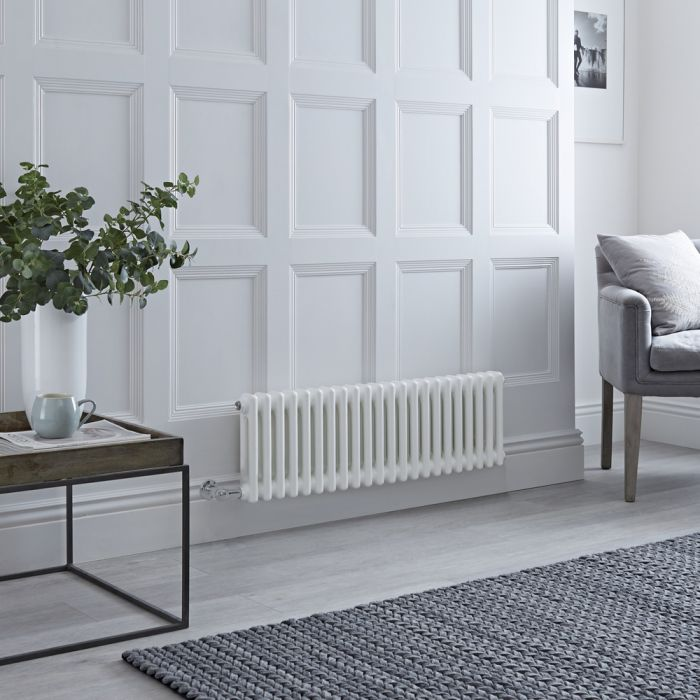 Milano Windsor - Traditional White 2 Column Electric Radiator - 300mm x 1010mm (Horizontal) - with Choice of Wi-Fi Thermostat