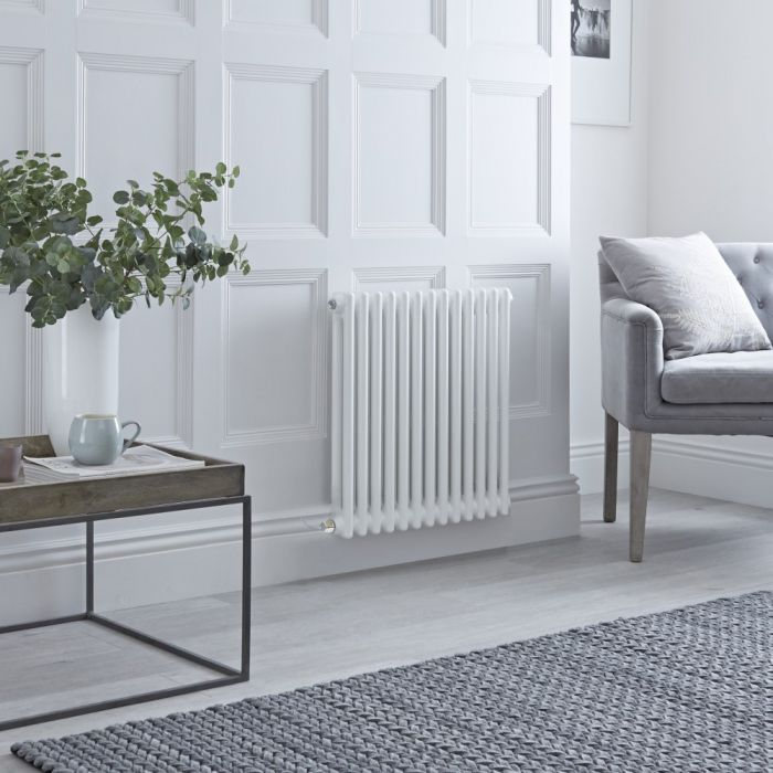 Milano Windsor - Traditional White 2 Column Electric Radiator - 600mm x 605mm (Horizontal) - with Choice of Wi-Fi Thermostat