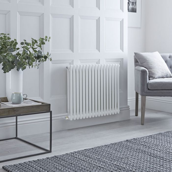 Milano Windsor - Traditional White 2 Column Electric Radiator - 600mm x 785mm (Horizontal) - with Choice of Wi-Fi Thermostat