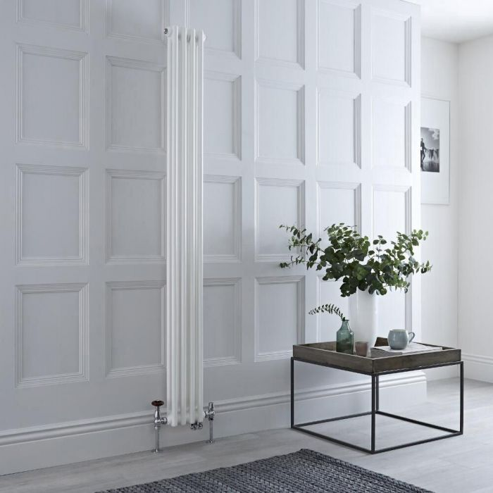 Milano Windsor - White Vertical Dual Fuel Traditional Column Radiator - 1500mm x 200mm (Double Column) - Choice of Valve and Wi-Fi Thermostat