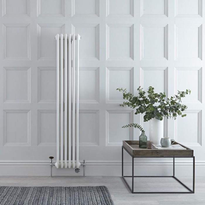 Milano Windsor - White Vertical Dual Fuel Traditional Column Radiator - 1500mm x 290mm (Double Column) - Choice of Valve and Wi-Fi Thermostat