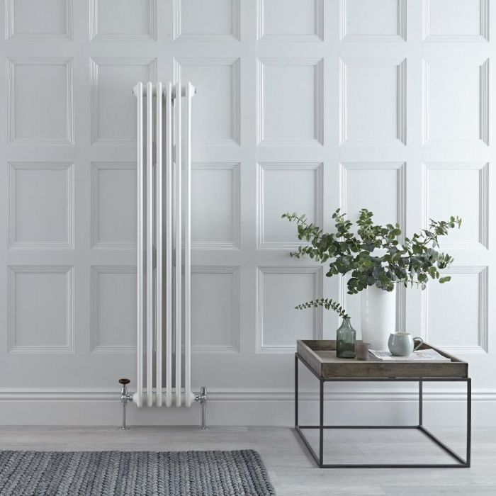 Milano Windsor - White Vertical Traditional Column Radiator - 1500mm x 290mm (Double Column)