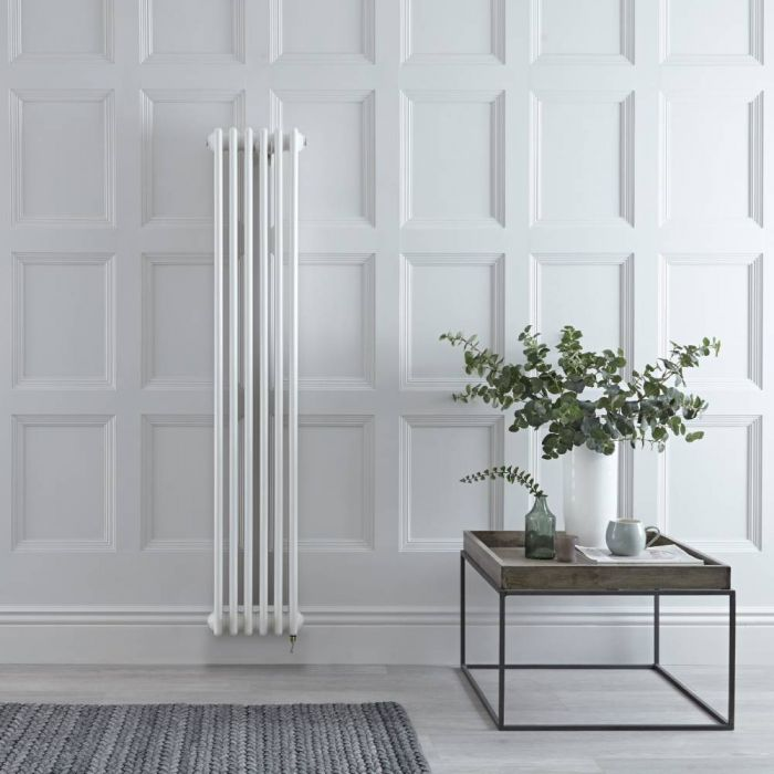 Milano Windsor - White Vertical Traditional Electric Column Radiator - 1500mm x 290mm (Double Column) - Choice of Wi-Fi Thermostat