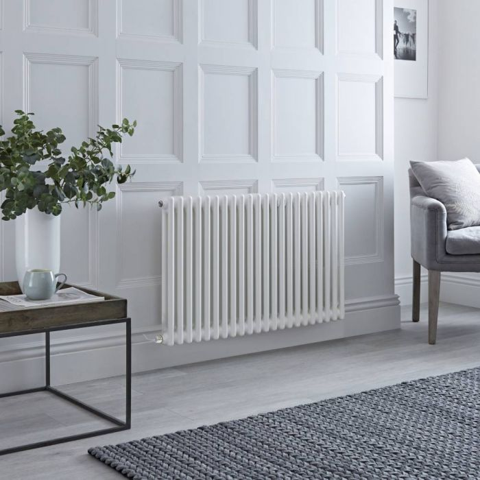 Milano Windsor - Traditional 22 x 2 Column Electric Radiator Cast Iron Style White - 600mm x 1010mm (Horizontal) - with Choice of Wi-Fi Thermostat
