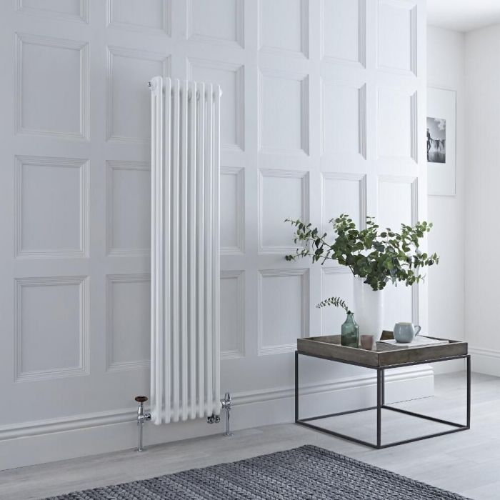 Milano Windsor - White Vertical Dual Fuel Traditional Column Radiator - 1500mm x 380mm (Double Column) - Choice of Valve and Wi-Fi Thermostat
