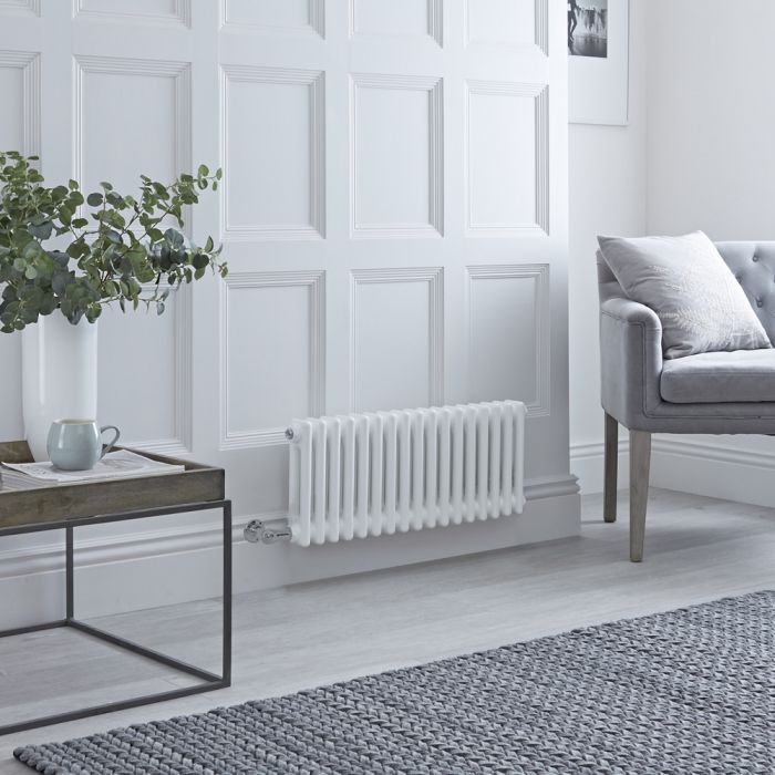 Milano Windsor - Traditional 17 x 2 Column Electric Radiator Cast Iron Style White - 300mm x 785mm - with Choice of Wi-Fi Thermostat