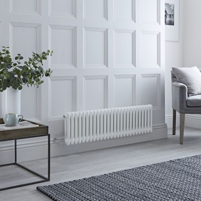 Milano Windsor - Traditional 26 x 2 Column Electric Radiator Cast Iron Style White - 300mm x 1190mm - with Choice of Wi-Fi Thermostat