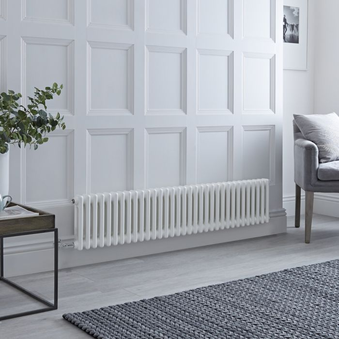 Milano Windsor - Traditional 33 x 2 Column Electric Radiator Cast Iron Style White - 300mm x 1505mm - with Choice of Wi-Fi Thermostat