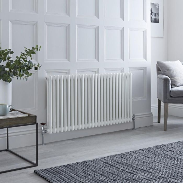 Milano Windsor - White Horizontal Traditional Column Radiator - 600mm x 1190mm (Double Column)