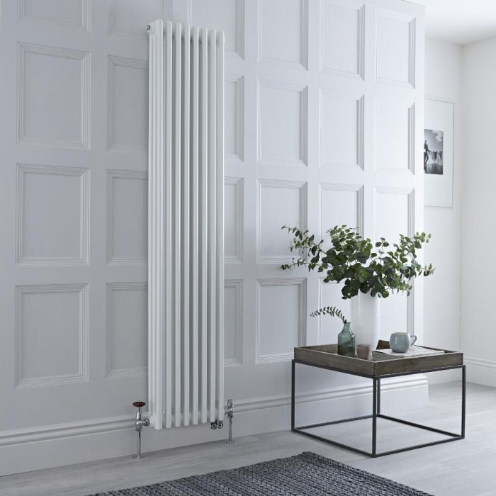 Milano Windsor - White Vertical Dual Fuel Traditional Column Radiator - 1800mm x 380mm (Triple Column) - Choice of Valve and Wi-Fi Thermostat