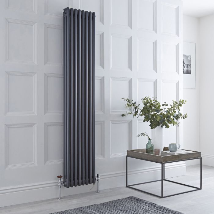 Milano Windsor - Anthracite Vertical Dual Fuel Traditional Column Radiator - 1800mm x 380mm (Triple Column) - Choice of Valve and Wi-Fi Thermostat