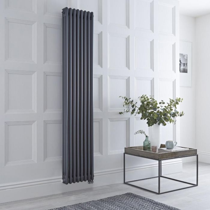 Milano Windsor - Anthracite Vertical Traditional Electric Column Radiator - 1800mm x 380mm (Triple Column) - Choice of Wi-Fi Thermostat