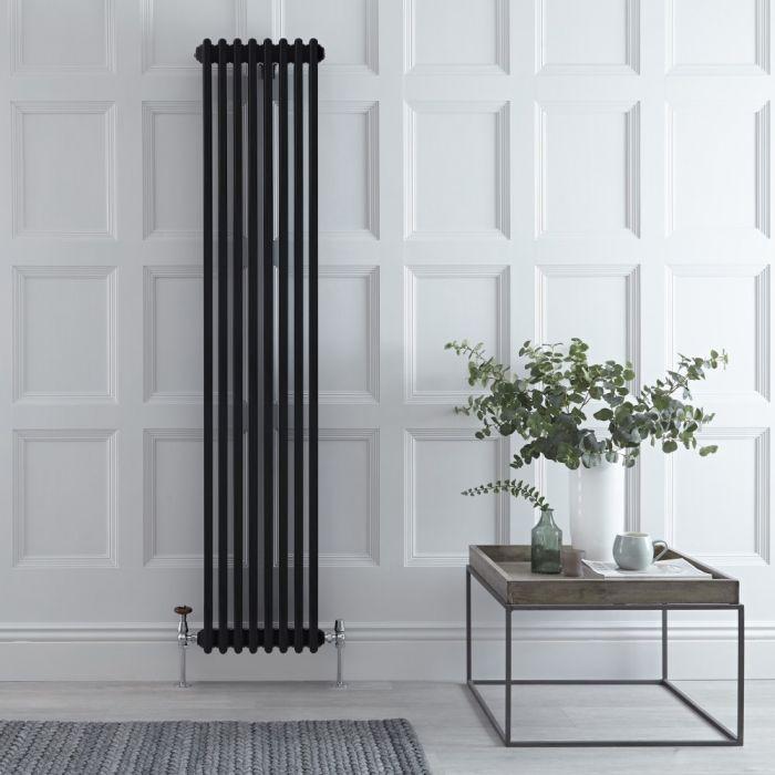 Milano Windsor - Black Vertical Traditional Column Radiator - 1800mm x 382mm (Triple Column)