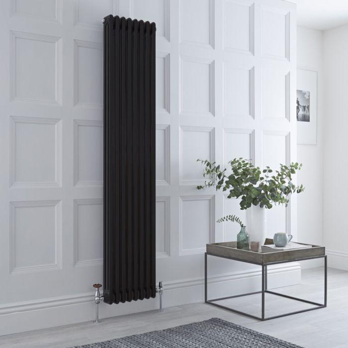 Milano Windsor - Black Vertical Traditional Column Radiator - 1800mm x 381mm (Triple Column)
