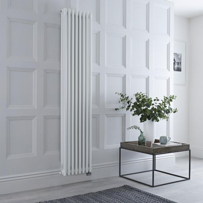 Milano Windsor - White Vertical Traditional Electric Column Radiator - 1800mm x 380mm (Triple Column) - Choice of Wi-Fi Thermostat