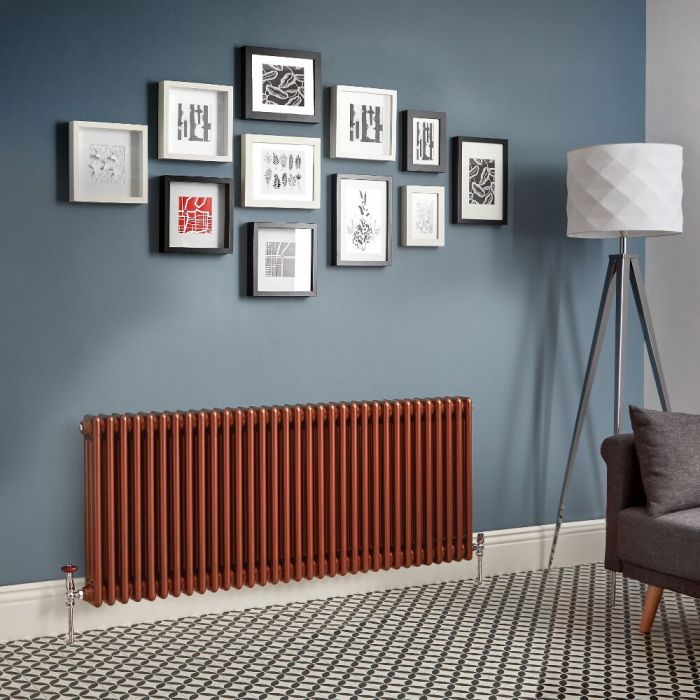 Milano Windsor - Metallic Copper Horizontal Traditional Column Radiator - Triple Column - Choice Of Height & Width