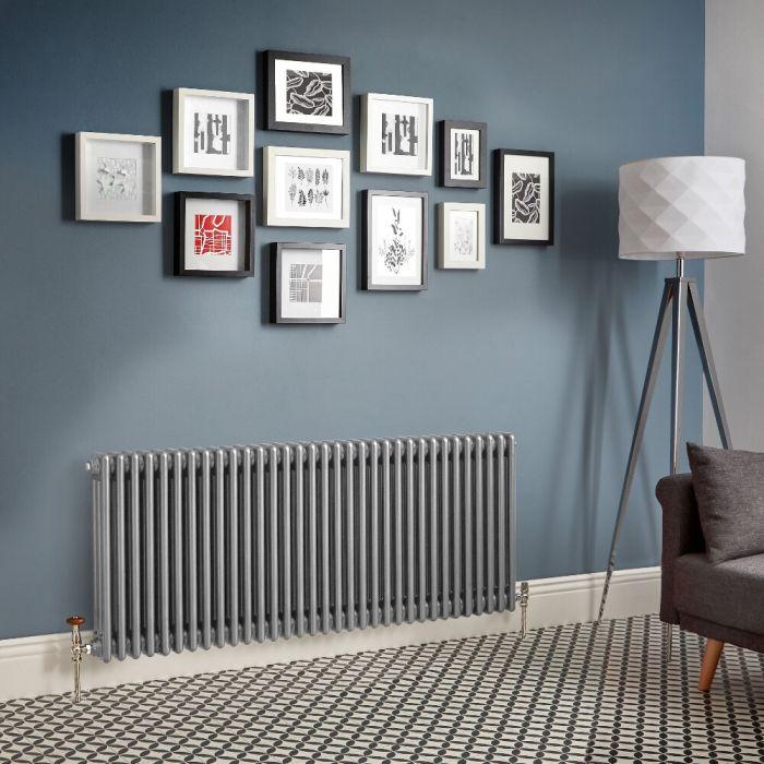 Milano Windsor - Metallic Silver Horizontal Traditional Column Radiator (Triple Column) - All Sizes