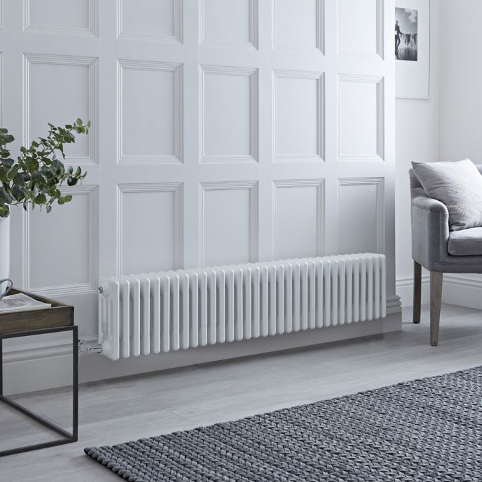 Milano Windsor - Traditional White 4 Column Electric Radiator - 300mm x 1505mm (Horizontal) - with Choice of Wi-Fi Thermostat
