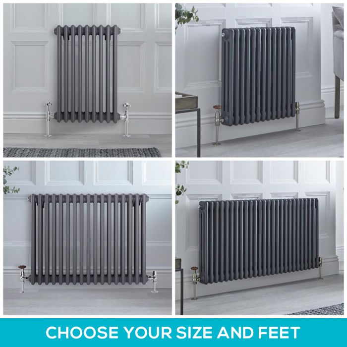Milano Windsor - Anthracite 600mm Horizontal Traditional Triple Column Radiator - Choice of Size and Feet