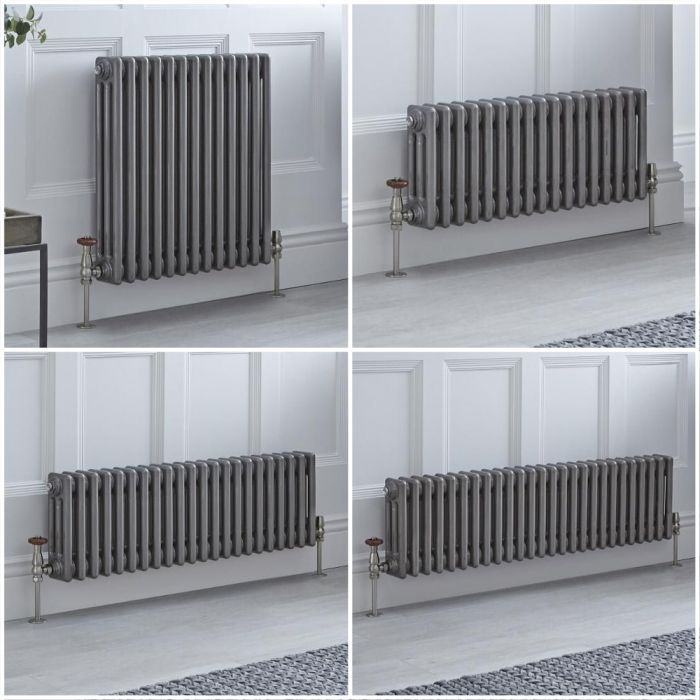 Milano Windsor - Lacquered Metal Horizontal Traditional Triple Column Radiator - Choice of Size and Feet