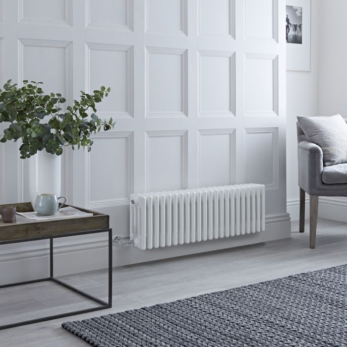 Milano Windsor Electric - Traditional White 4 Column Radiator - 300mm x 1010mm (Horizontal) - with Choice of Wi-Fi Thermostat