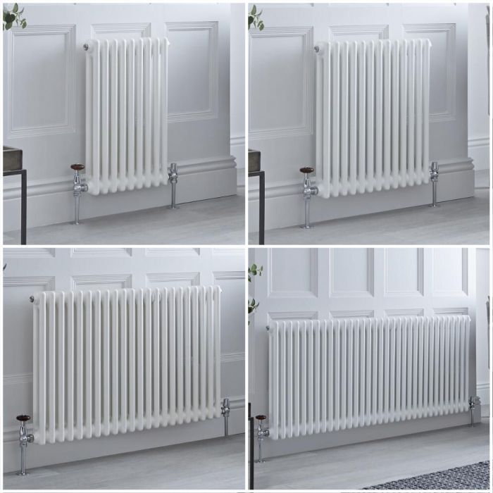 Milano Windsor - White Horizontal Traditional Double Column Radiator - Choice of Size and Feet