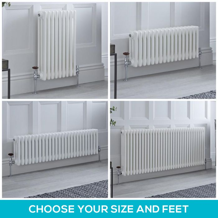 Milano Windsor - White Horizontal Traditional Triple Column Radiator - Choice of Size and Feet