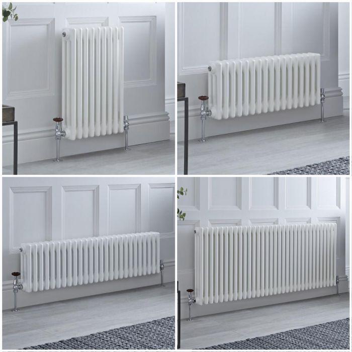 Milano Windsor - White Horizontal Traditional Triple Column Radiator - Choice of Size and Feet