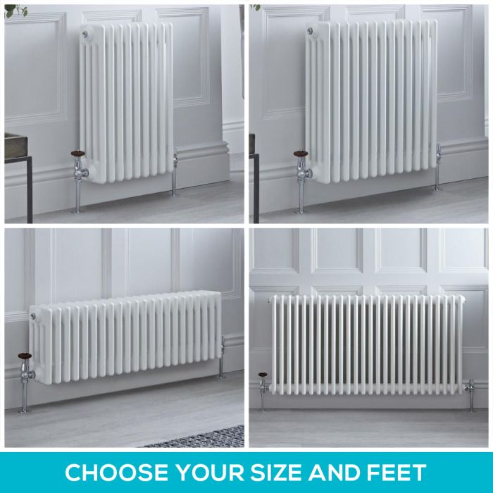 Milano Windsor - White Horizontal Traditional Four Column Radiator - Choice of Size and Feet