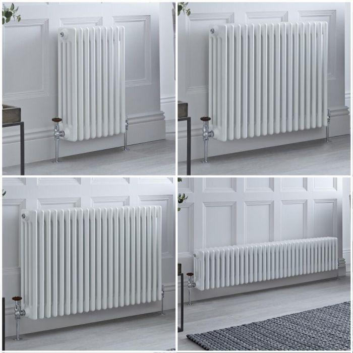 Milano Windsor - White Horizontal Traditional Four Column Radiator - Choice of Size and Feet