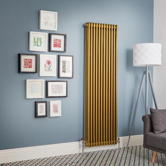 Milano Windsor - Metallic Gold Vertical Traditional Column Radiator (Triple Column) - All Sizes