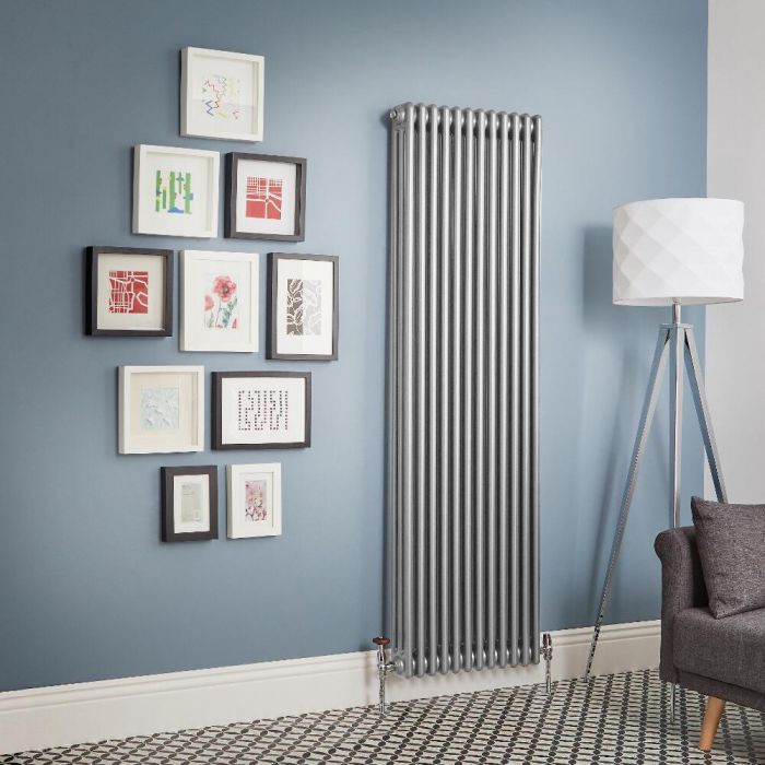 Milano Windsor - Metallic Silver Vertical Traditional Column Radiator (Triple Column) - All Sizes