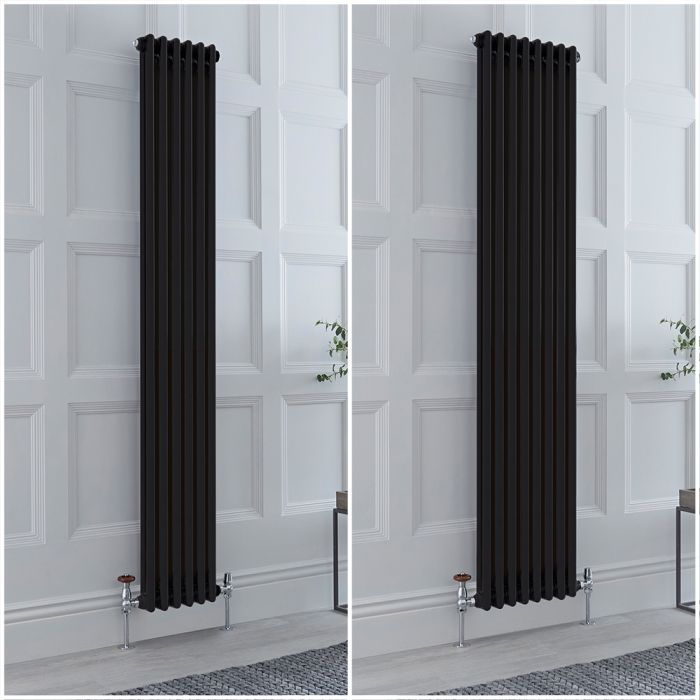 Milano Windsor - Black 1800mm Vertical Traditional Double Column Radiator - Choice of Size and Feet