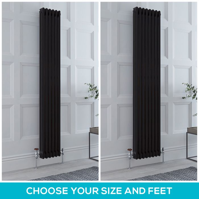 Milano Windsor - Black 1800mm Vertical Traditional Triple Column Radiator - Choice of Size and Feet