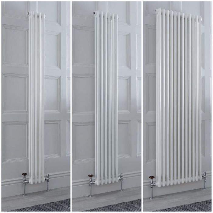 Milano Windsor - White Vertical Traditional Double Column Radiator - Choice of Size and Feet