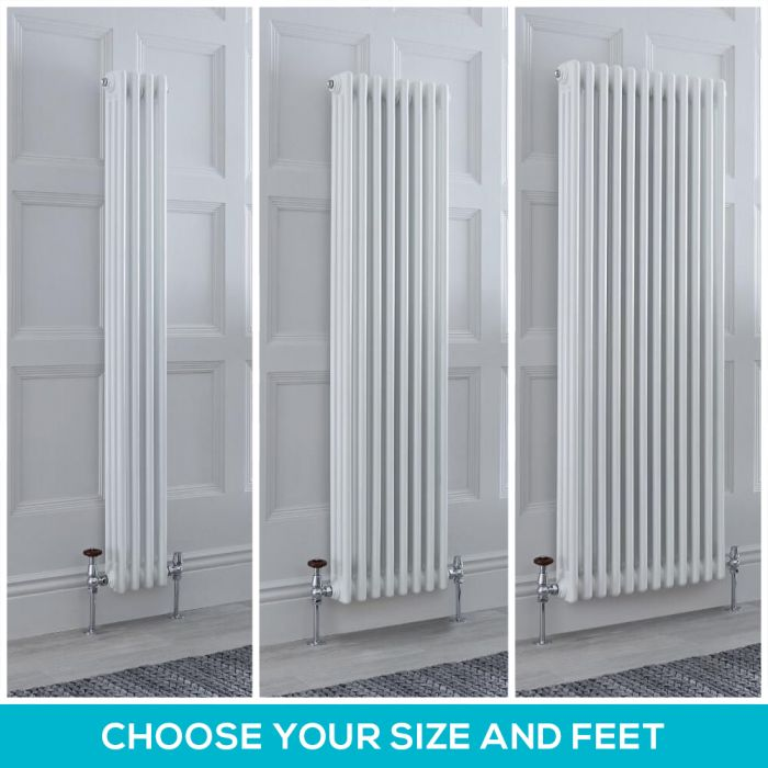Milano Windsor - White Vertical Traditional Triple Column Radiator - Choice of Size and Feet